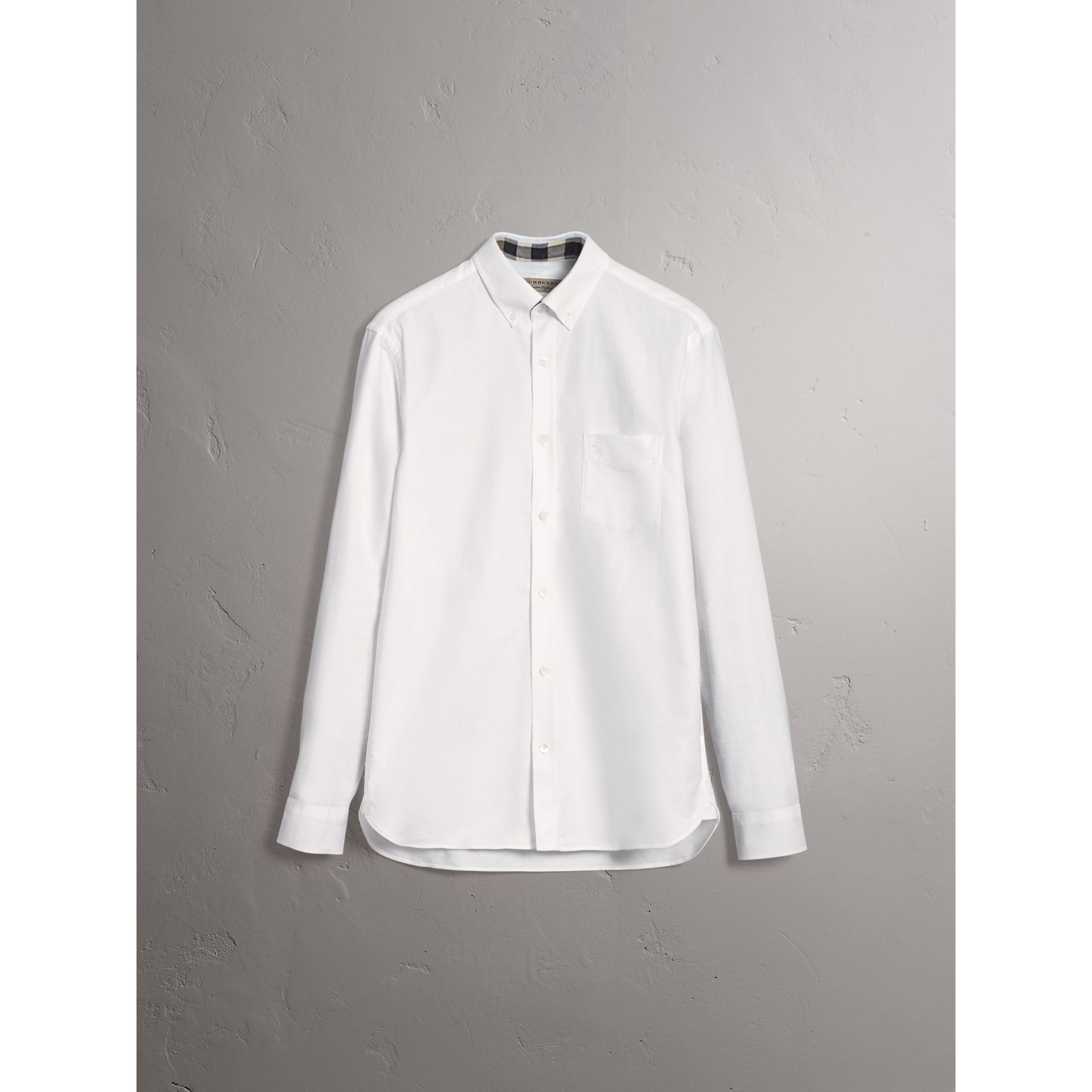 Check Detail Cotton Oxford Shirt in White - Men | Burberry - gallery image 4