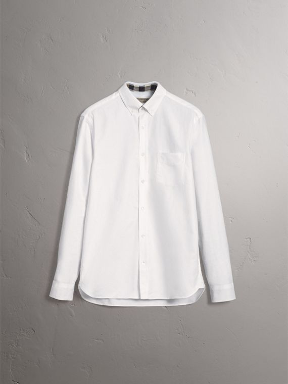 Check Detail Cotton Oxford Shirt in White - Men | Burberry Australia - cell image 3