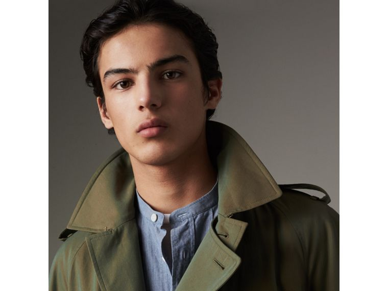 Oversize Storm Shield Tropical Gabardine Trench Coat in Bright Olive - Men | Burberry - cell image 1