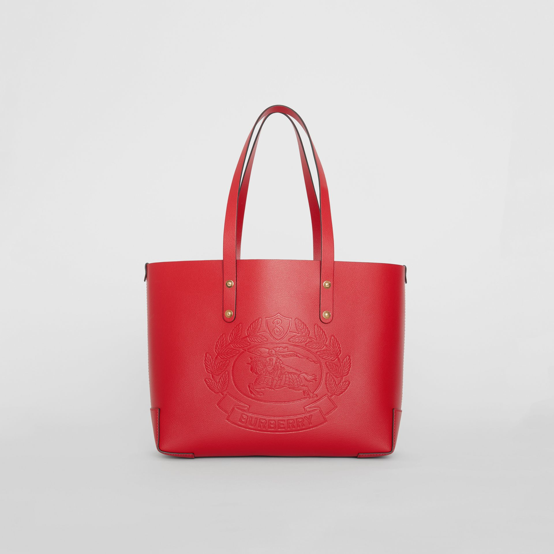 Small Embossed Crest Leather Tote in Rust Red - Women | Burberry Australia - gallery image 0