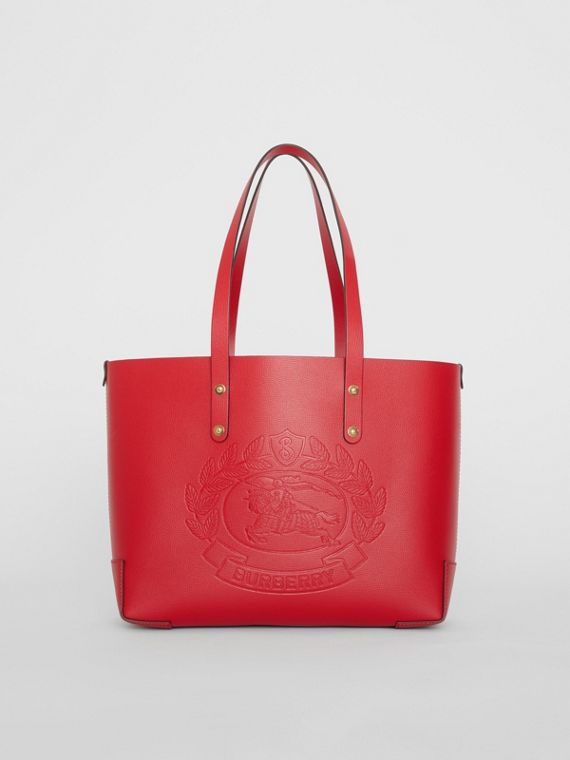 Small Embossed Crest Leather Tote in Rust Red