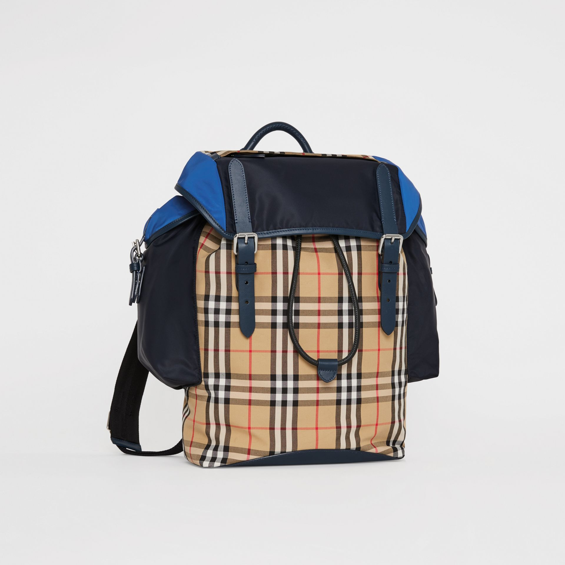 Colour Block Vintage Check and Leather Backpack in Navy - Men | Burberry Singapore - gallery image 6