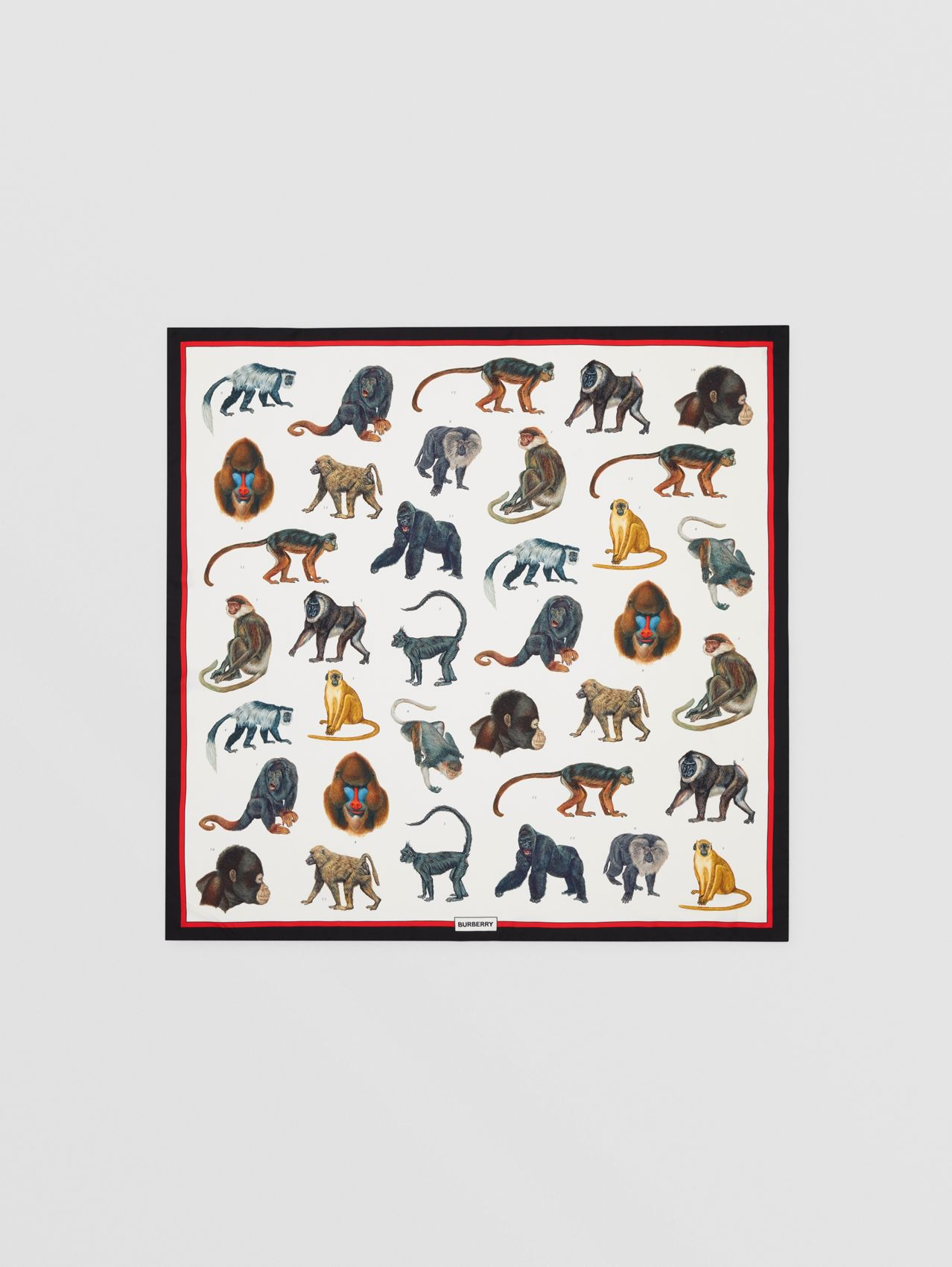 Monkey Print Silk Square Scarf in Multicolour