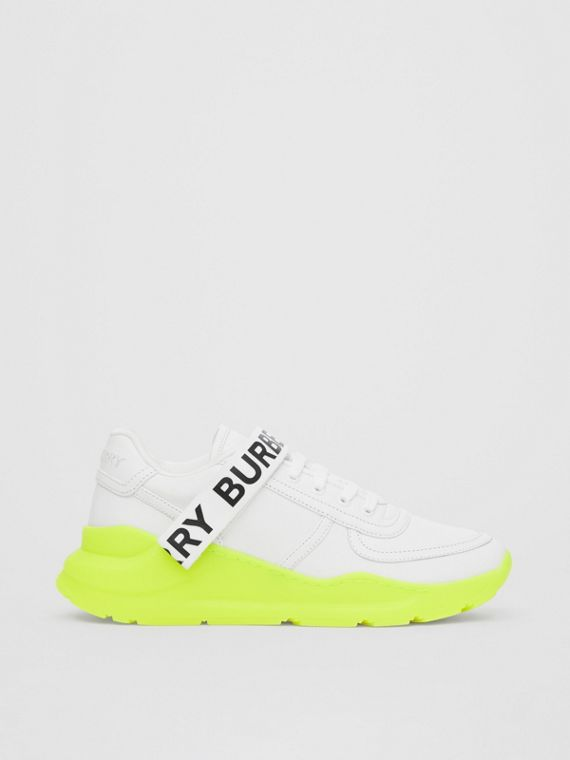 Logo Detail Leather and Nylon Sneakers in Optic White/fluorescent Yellow
