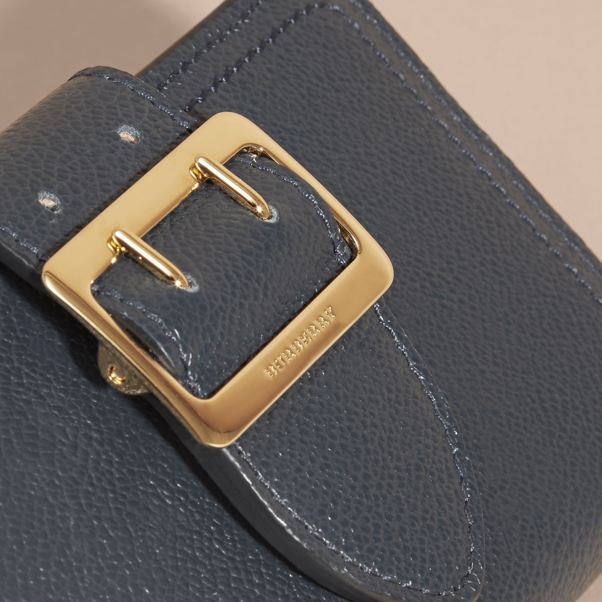Buckle Detail Grainy Leather Wallet in Blue Carbon - gallery image 2