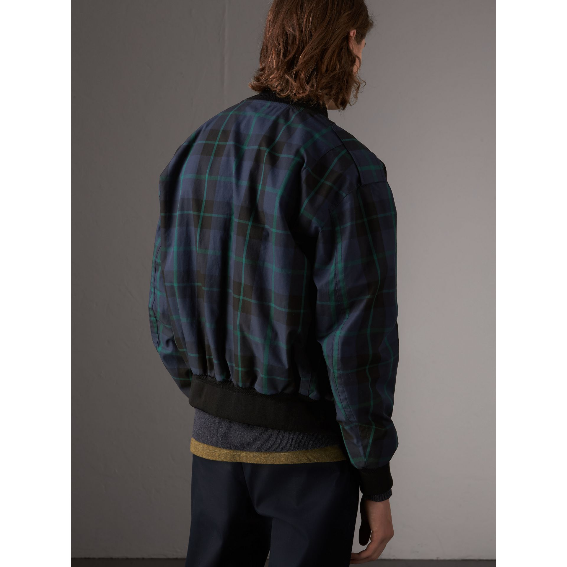 Reversible Check Cotton and Nylon Bomber Jacket in Navy - Men | Burberry - gallery image 3