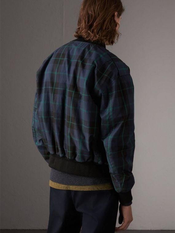 Reversible Check Cotton and Nylon Bomber Jacket in Navy - Men | Burberry - cell image 2