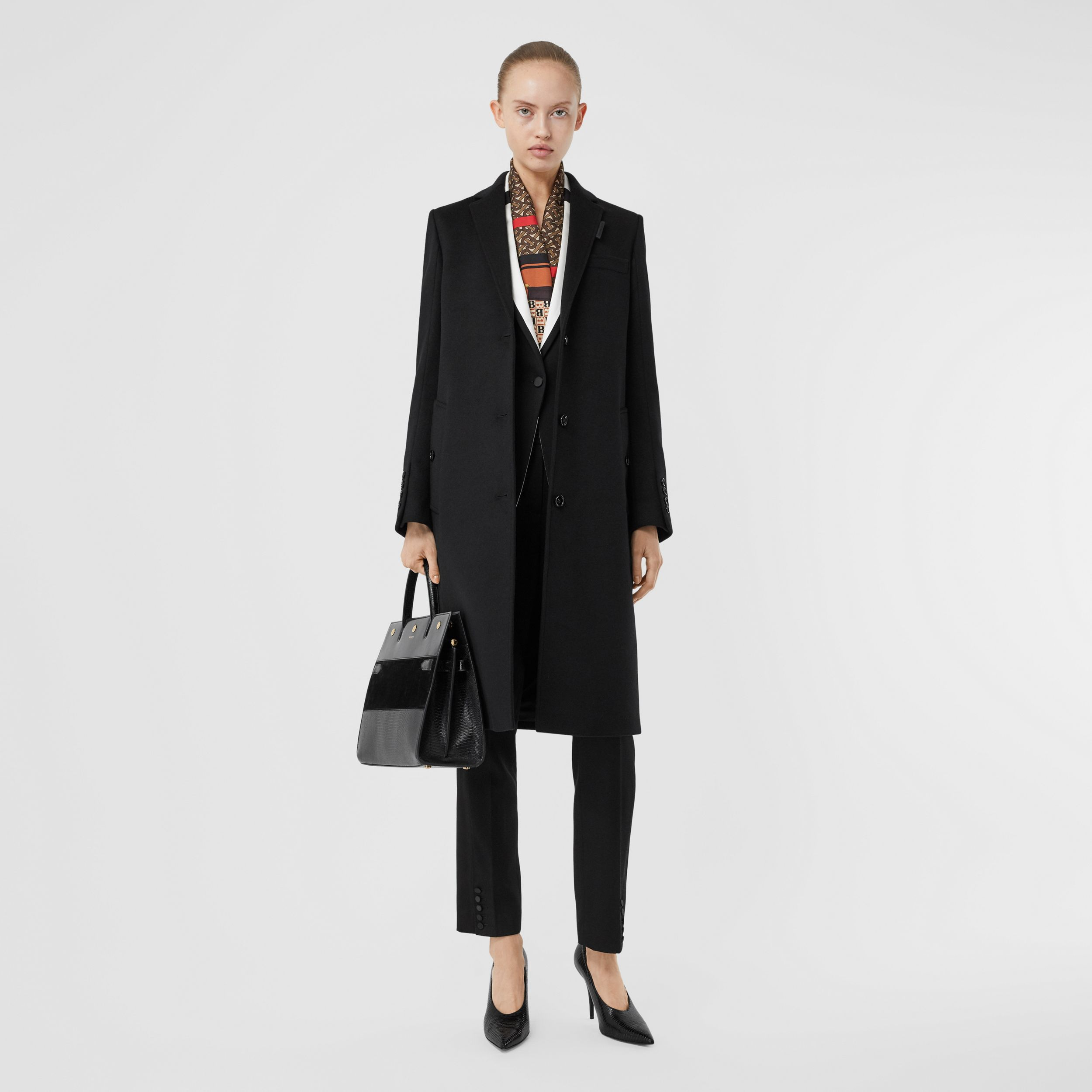Wool Cashmere Tailored Coat in Black - Women | Burberry - 1