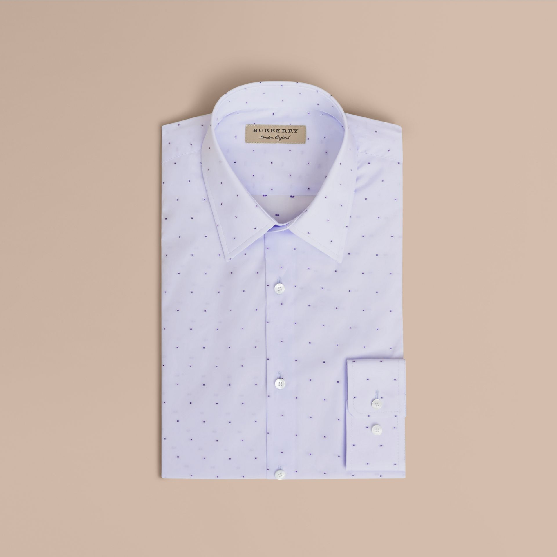 Slim Fit Dot Fil Coupé Cotton Poplin Shirt in Light Blue - Men | Burberry - gallery image 4