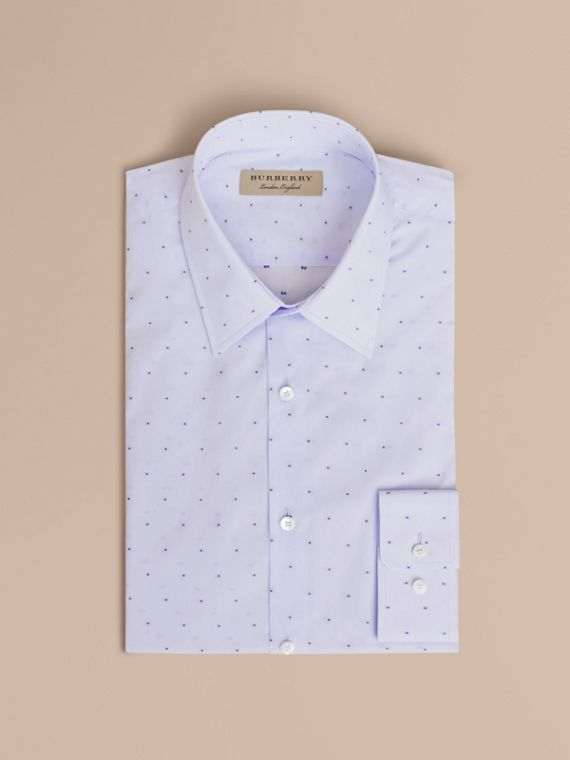 Slim Fit Dot Fil Coupé Cotton Poplin Shirt Light Blue