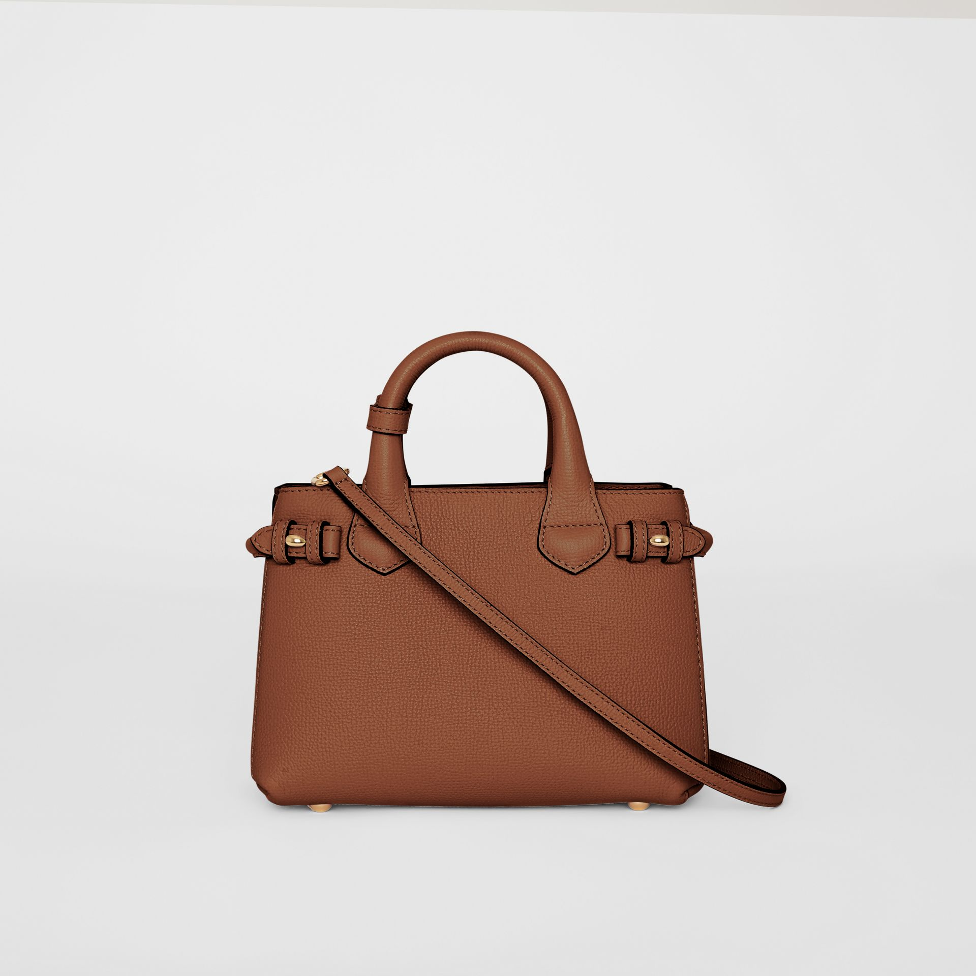 The Small Banner in Leather and House Check in Tan - Women | Burberry United States - gallery image 7