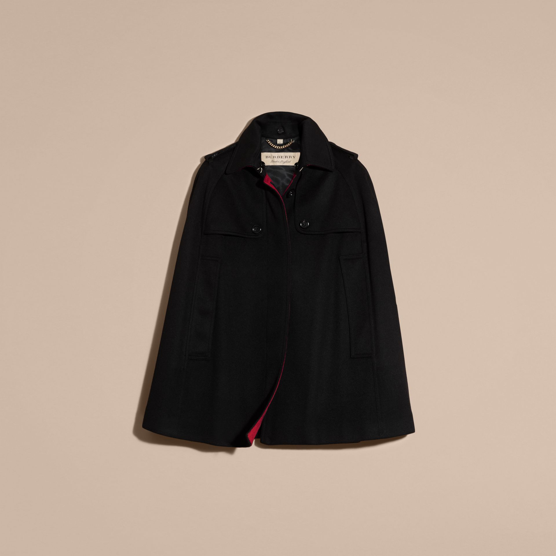 Black Cashmere Military Cape Coat - gallery image 4
