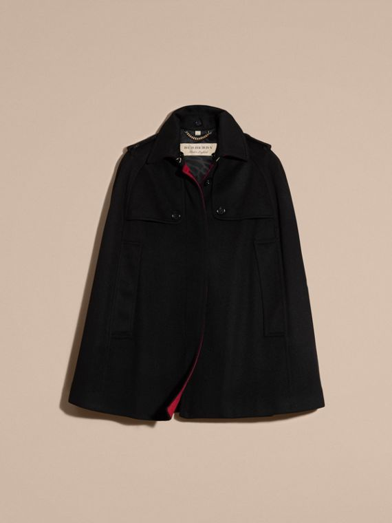 Black Cashmere Military Cape Coat - cell image 3