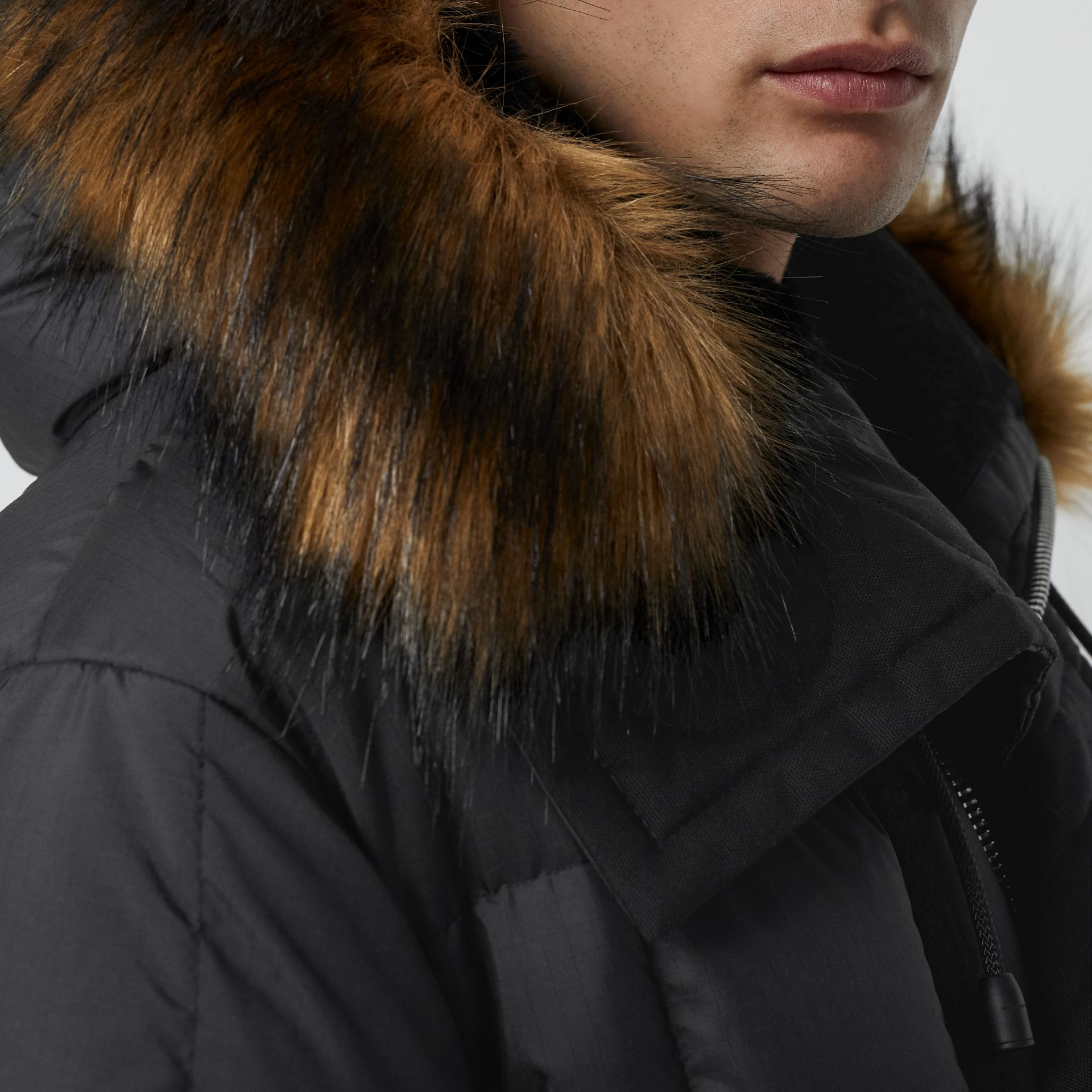 Faux Fur Trim Down-filled Hooded Parka in Black - Men | Burberry - gallery image 1