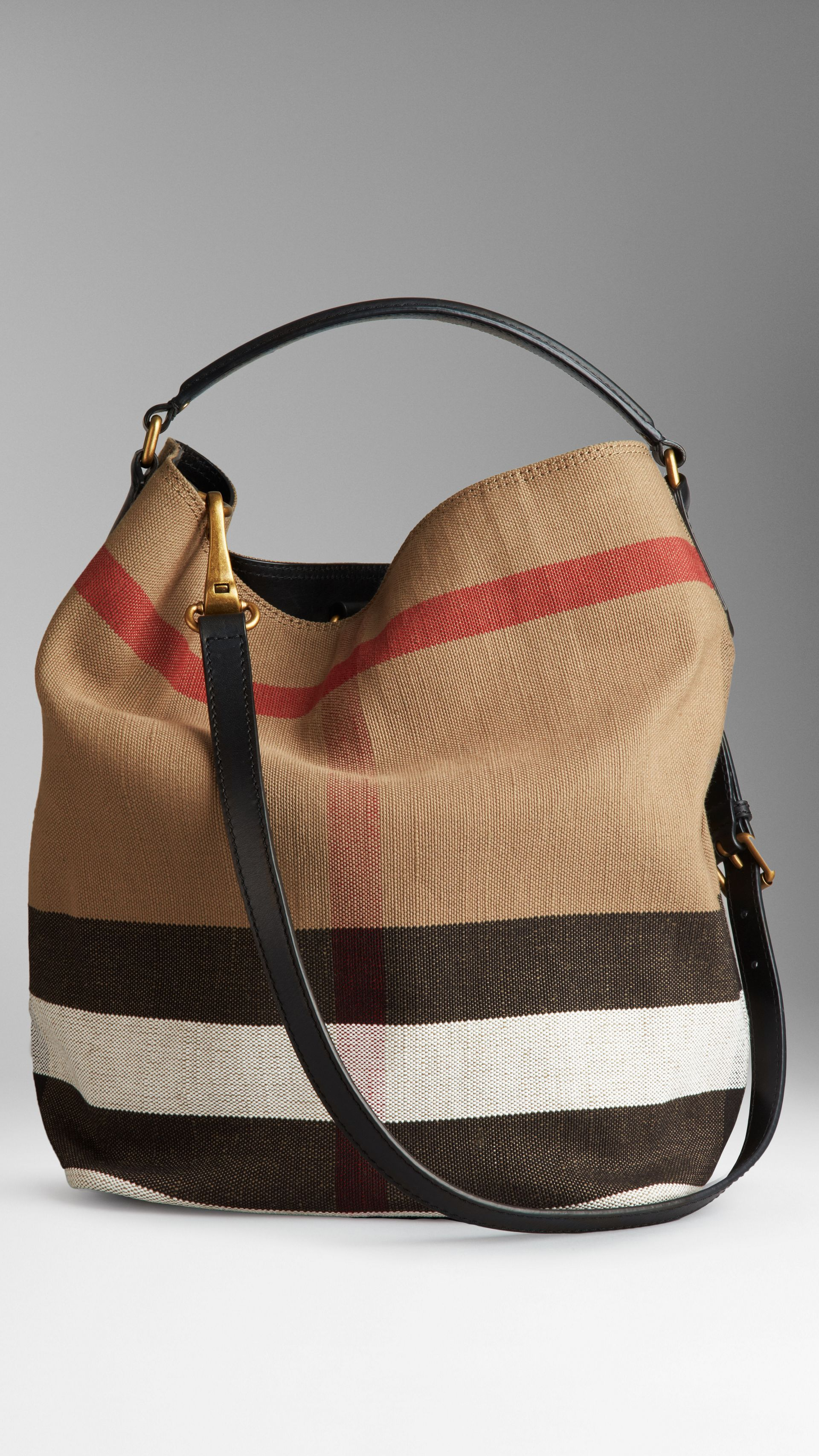 Medium Canvas Check Hobo Bag in Black - Women | Burberry - gallery image 2