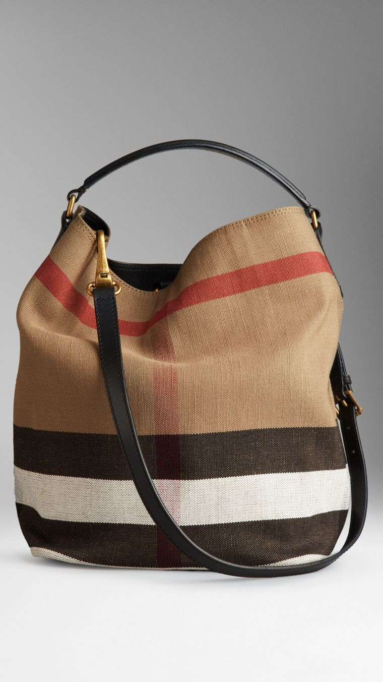 Medium Canvas Check Hobo Bag in Black - Women | Burberry - cell image 1
