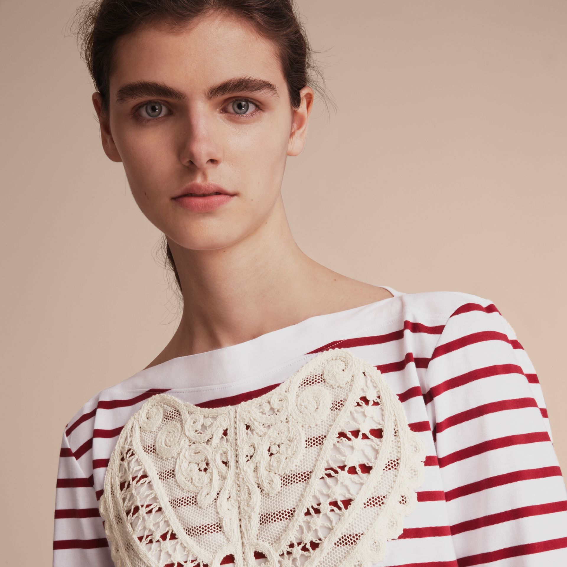 Unisex Breton Stripe Cotton Top with Lace Appliqué in Parade Red - Women | Burberry - gallery image 6