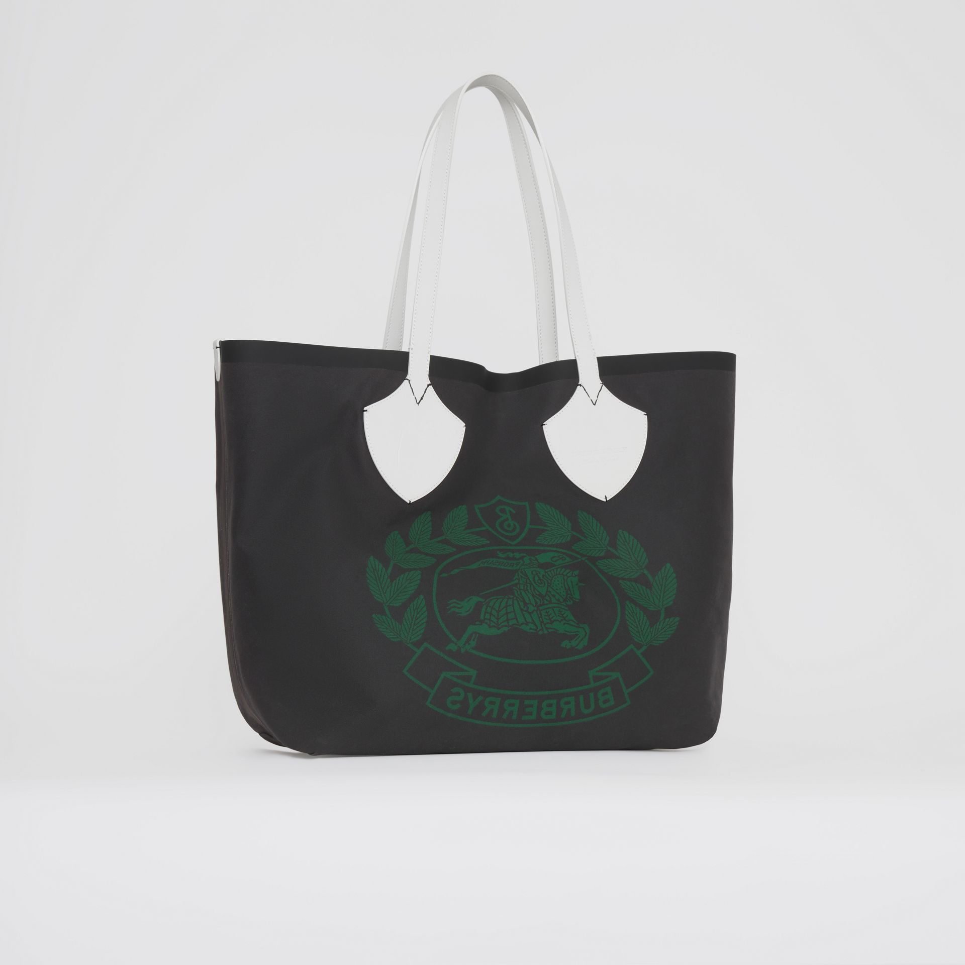 The Giant Tote in Archive Logo Cotton in Dark Racing Green | Burberry - gallery image 8