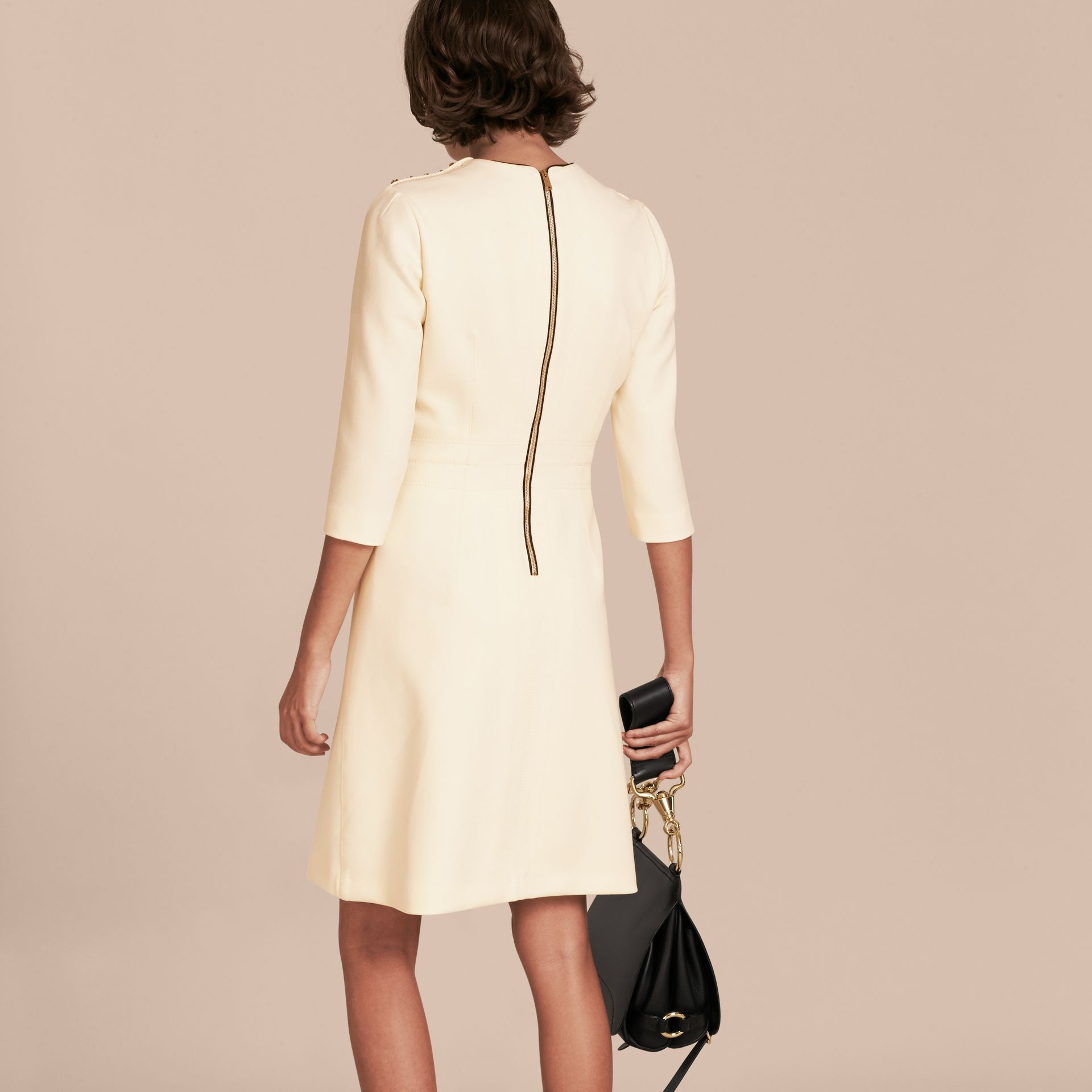 White Button Detail Wool Blend Crepe Dress - gallery image 3
