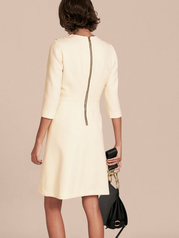 White Button Detail Wool Blend Crepe Dress - cell image 2