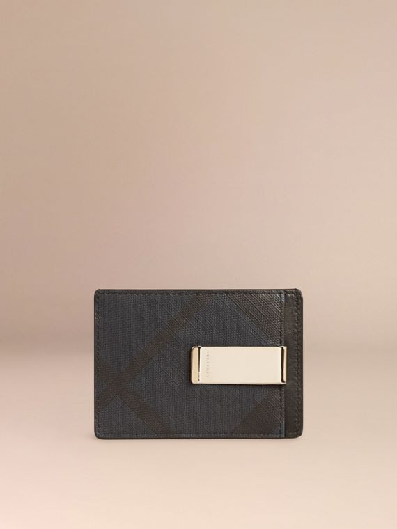 London Check Money Clip Card Case in Chocolate/black