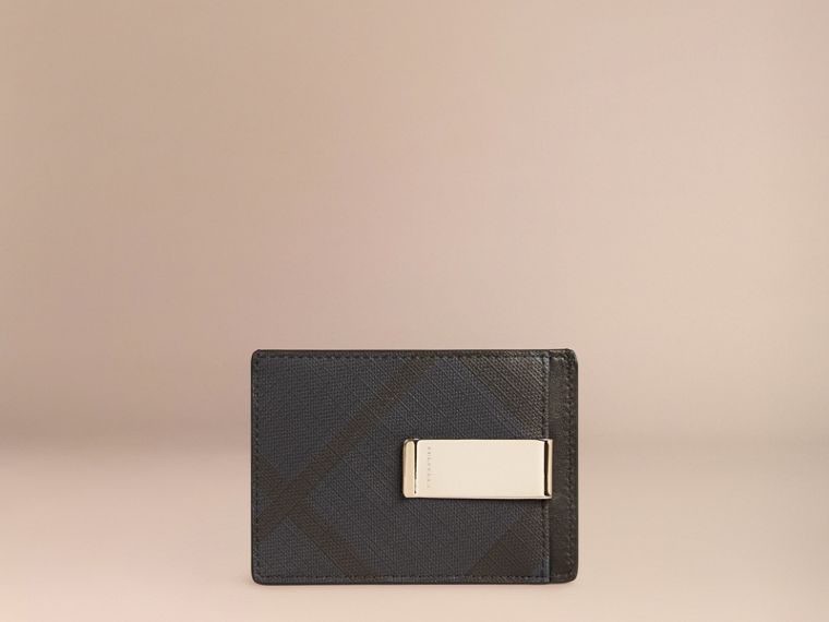 Navy/black London Check Money Clip Card Case Navy/black - cell image 1