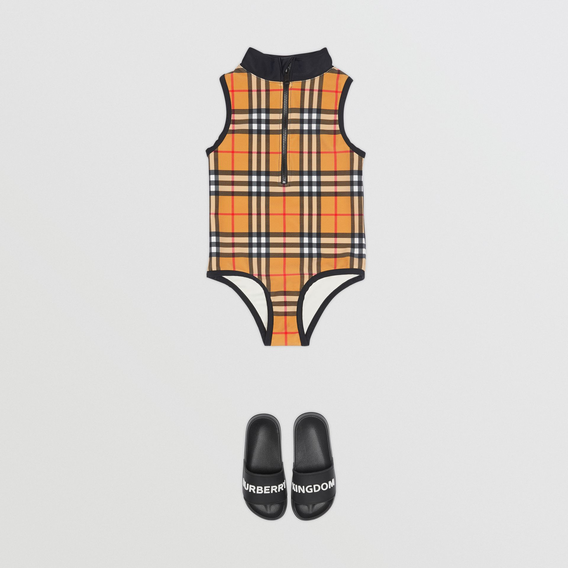 Logo Detail Vintage Check One-piece Swimsuit in Antique Yellow | Burberry - gallery image 2