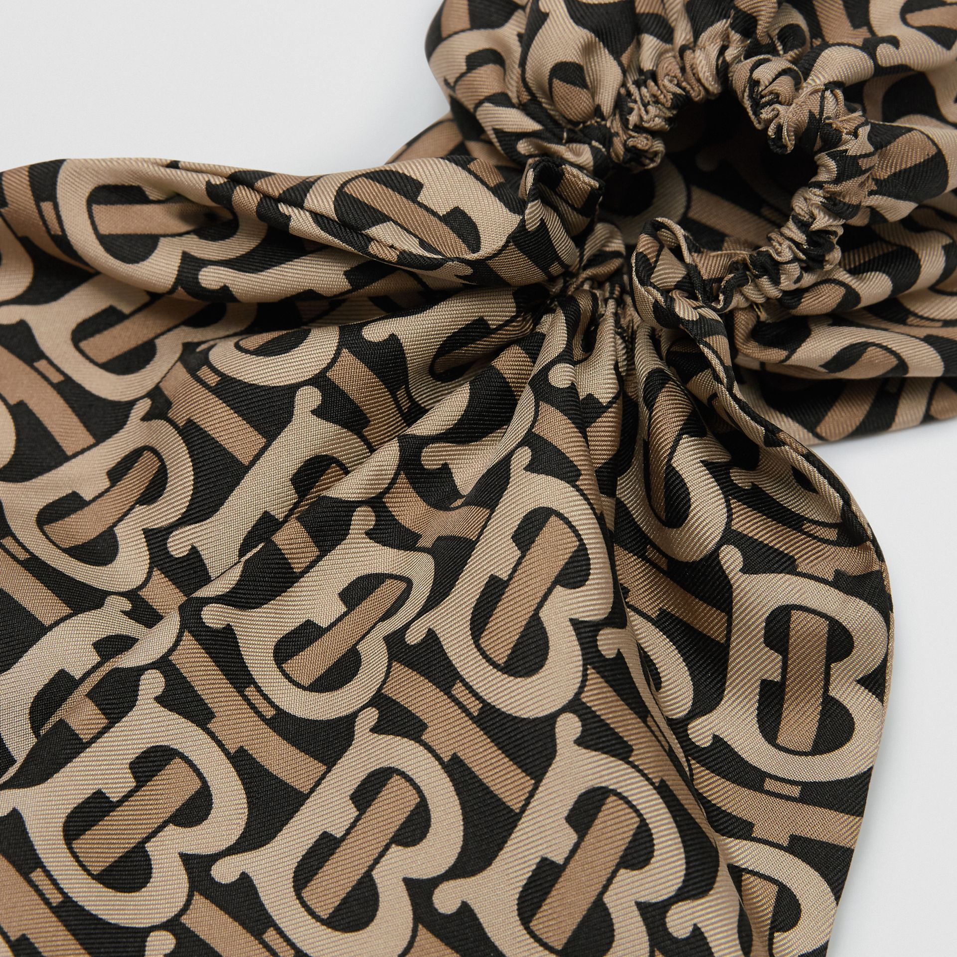 Monogram Print Silk Hair Scarf in Black - Women | Burberry - gallery image 1