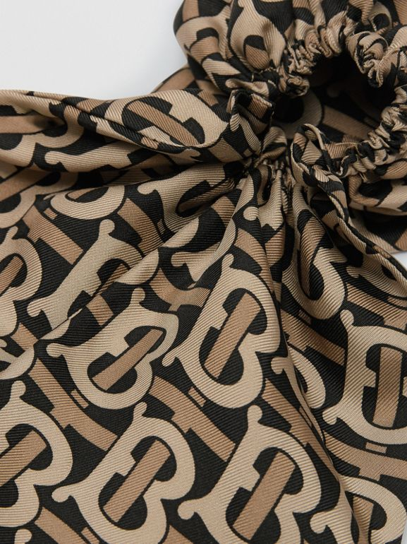 Monogram Print Silk Hair Scarf in Black - Women | Burberry United Kingdom - cell image 1