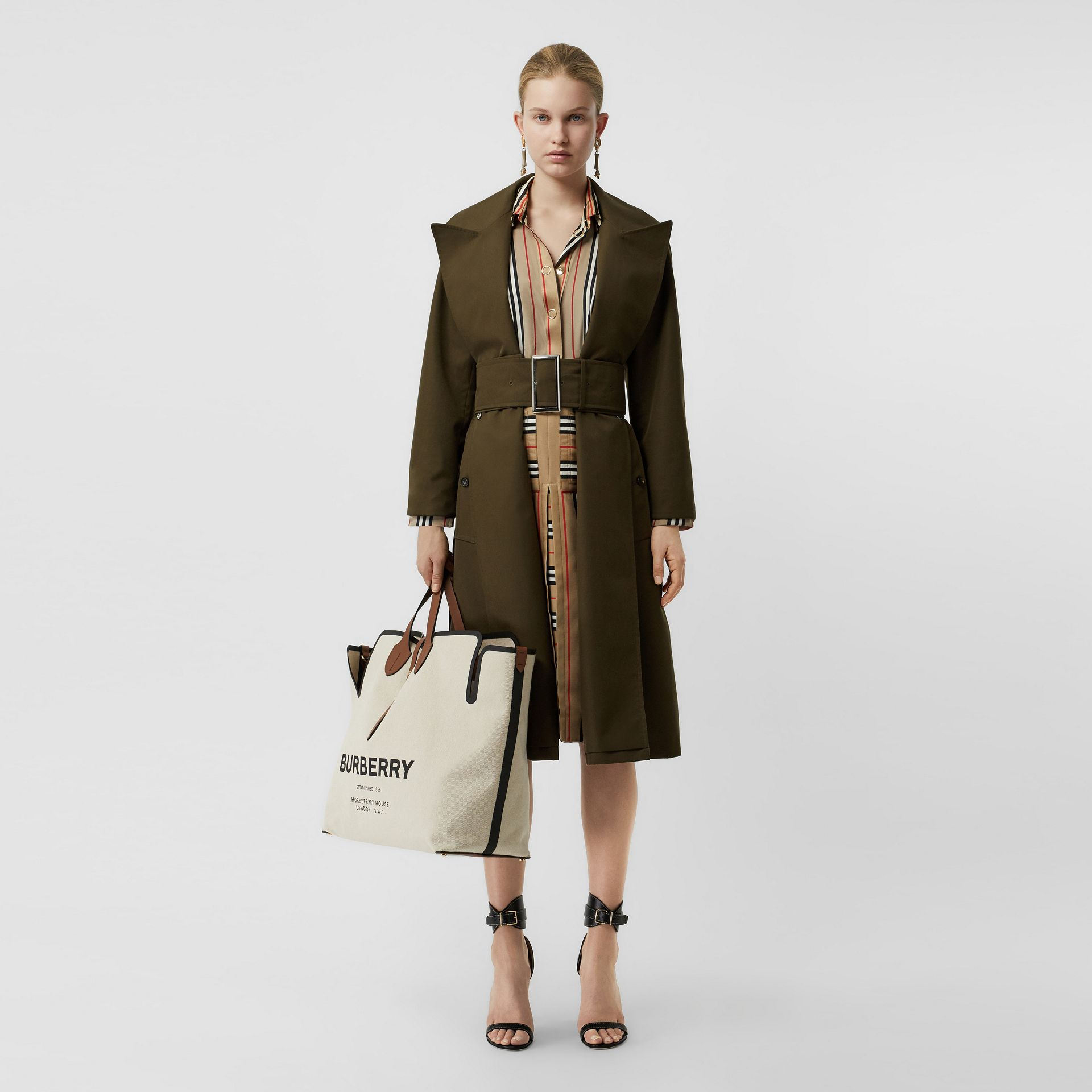 Side-slit Cotton Gabardine Belted Coat in Dark Military Khaki - Women | Burberry - gallery image 0