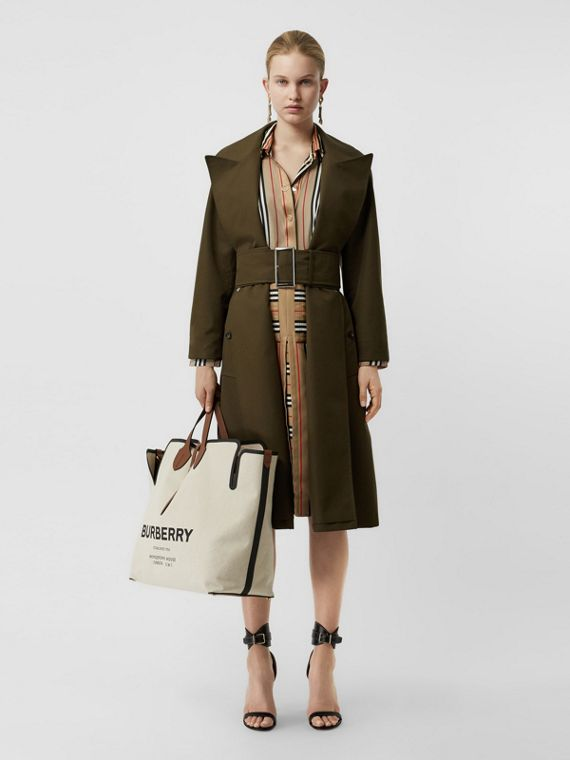 Side-slit Cotton Gabardine Belted Coat in Dark Military Khaki