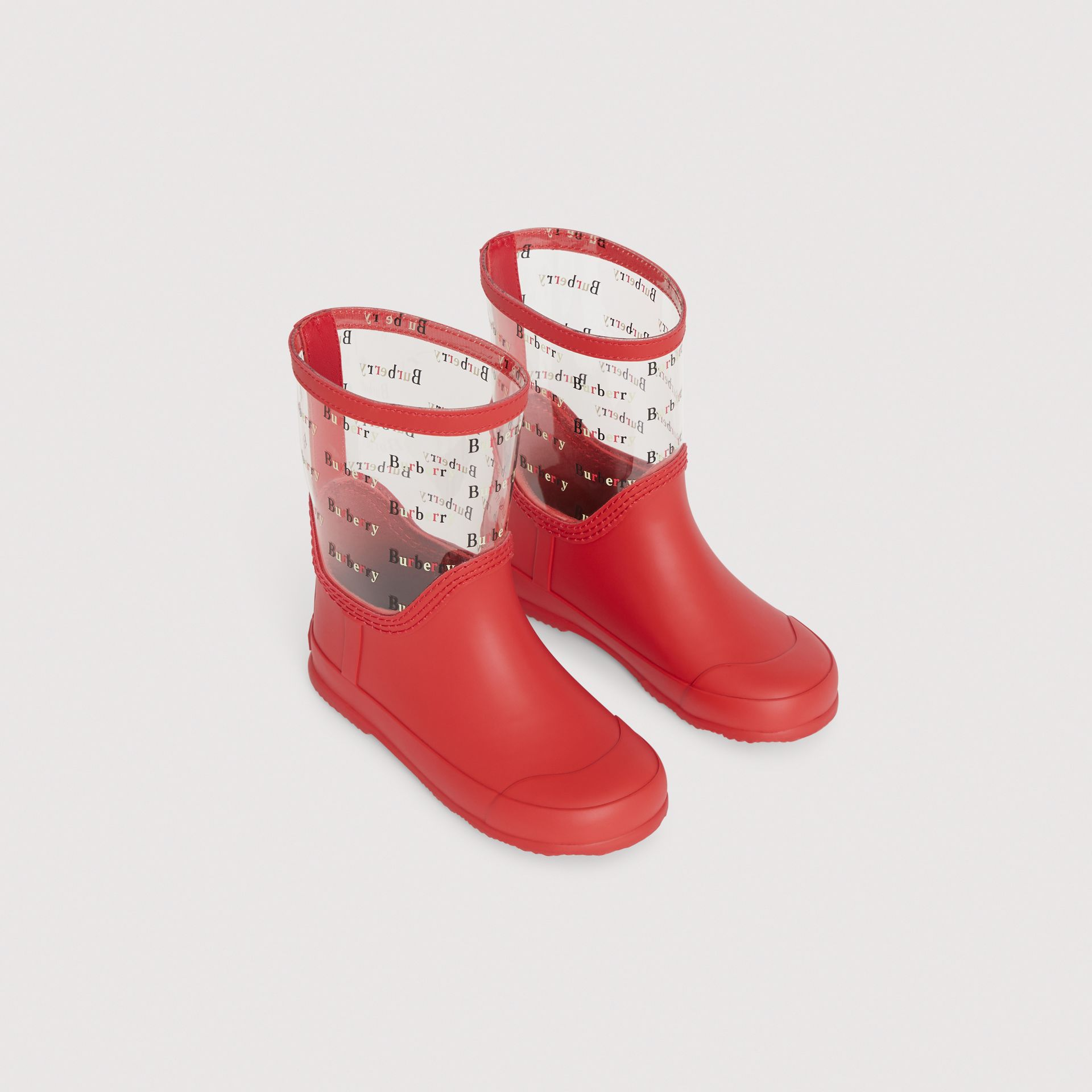 Logo Print Rubber Rain Boots in Bright Red | Burberry United Kingdom - gallery image 0