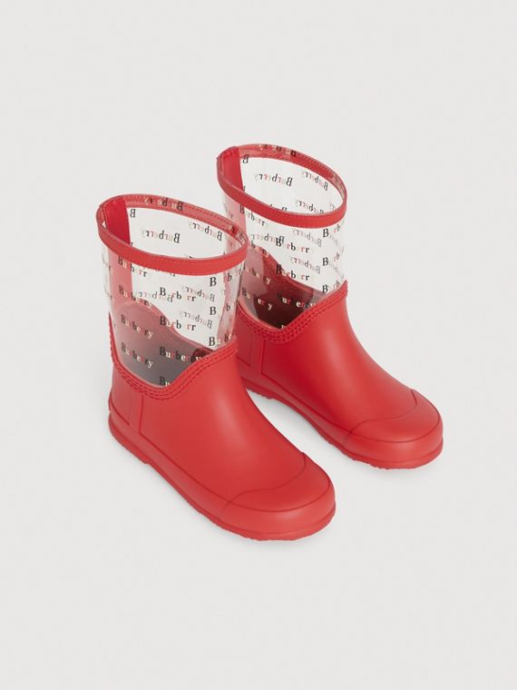 Logo Print Rubber Rain Boots in Bright Red