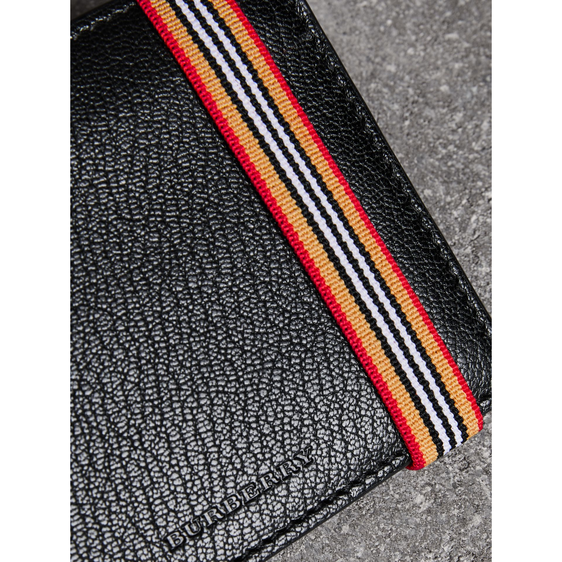 Heritage Stripe Leather International Bifold Wallet in Black - Men | Burberry Canada - gallery image 1