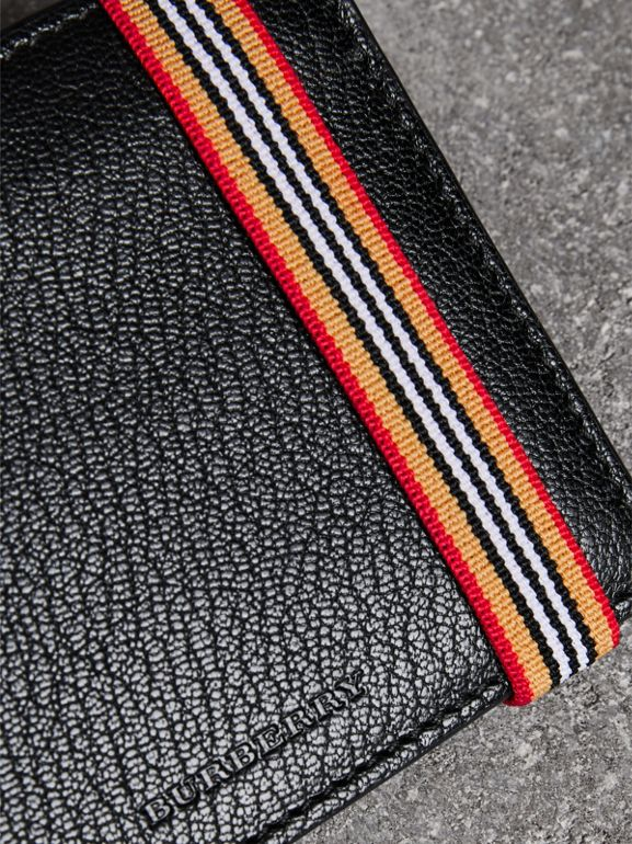 Icon Stripe Leather International Bifold Wallet in Black - Men | Burberry - cell image 1