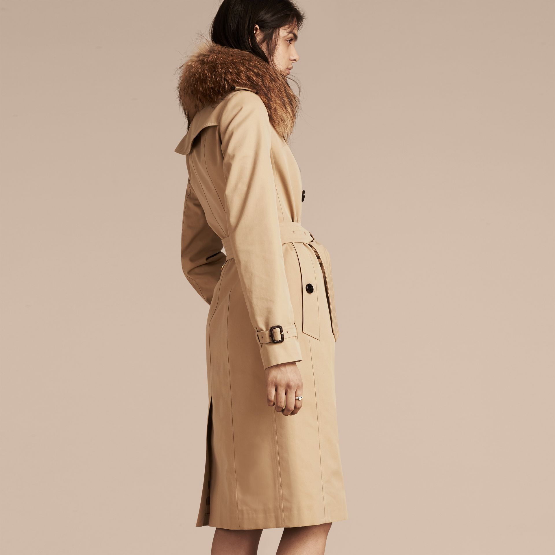 Honey Cotton Gabardine Trench Coat with Detachable Raccoon Collar - gallery image 3