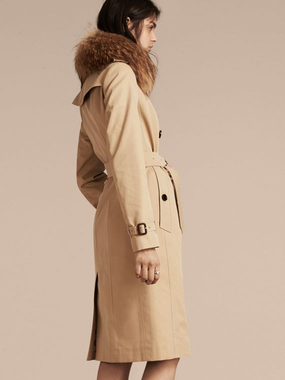 Honey Cotton Gabardine Trench Coat with Detachable Raccoon Collar - cell image 2