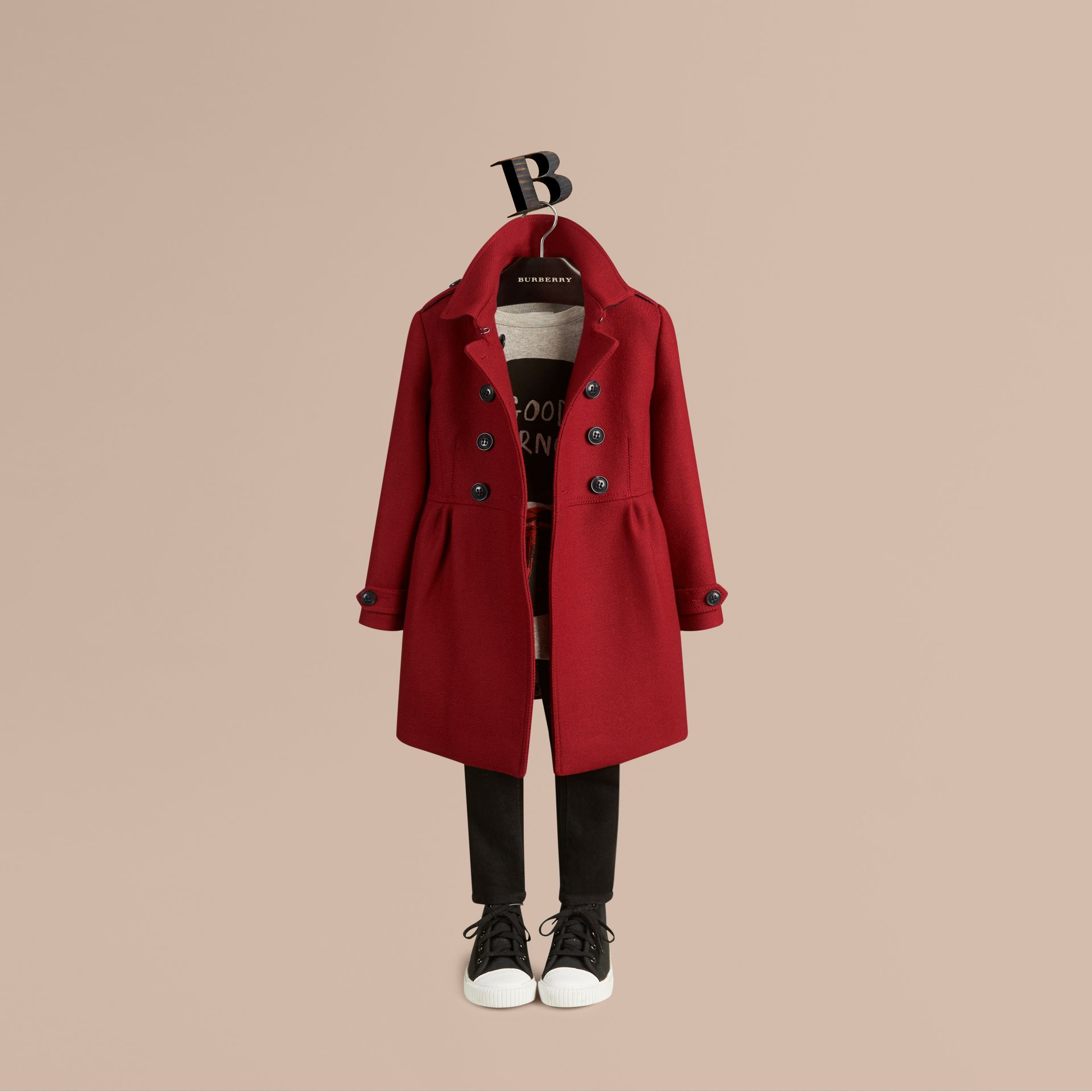 Damson red Virgin Wool Cashmere Blend Coat - gallery image 1