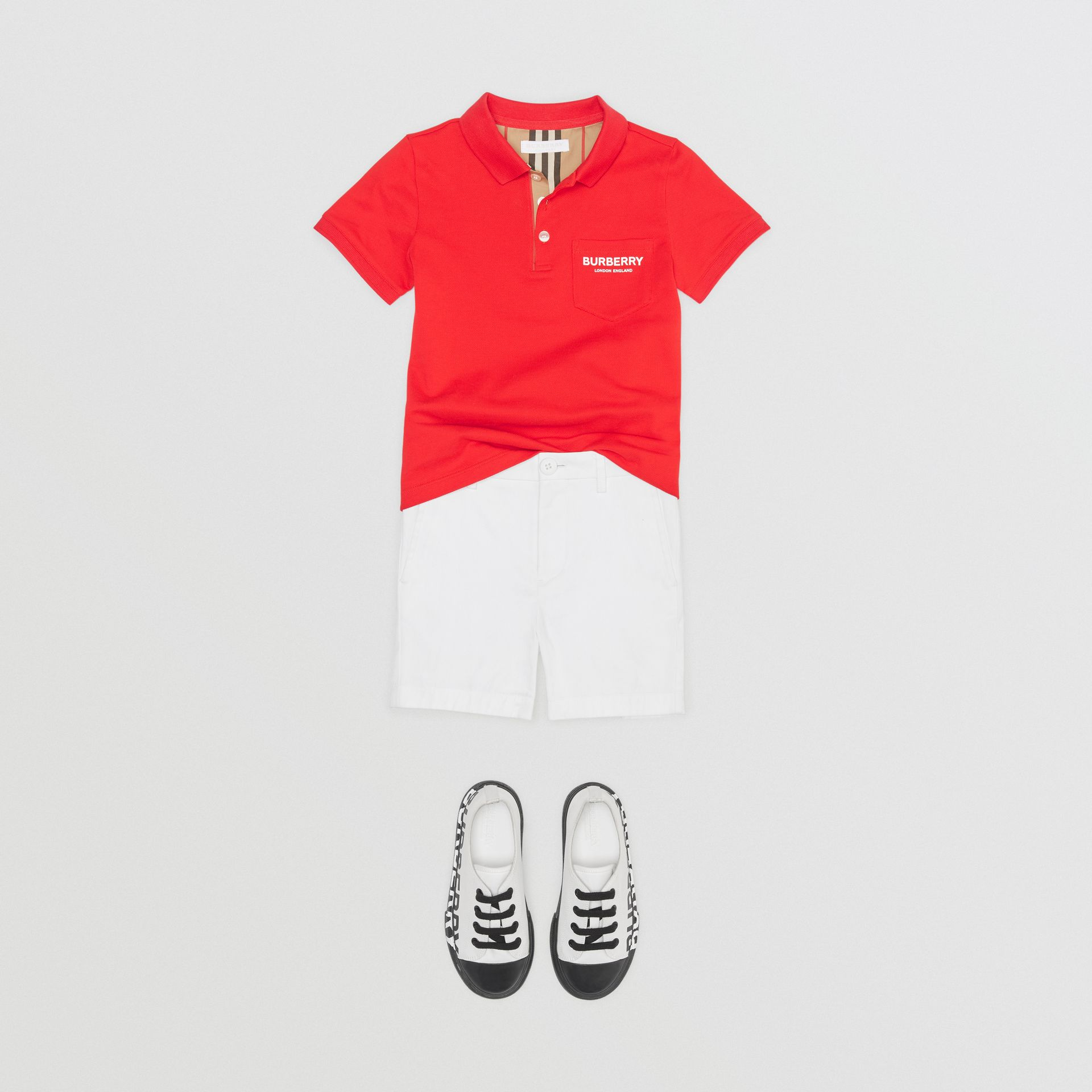 Icon Stripe Placket Cotton Piqué Polo Shirt in Bright Red | Burberry Australia - gallery image 2