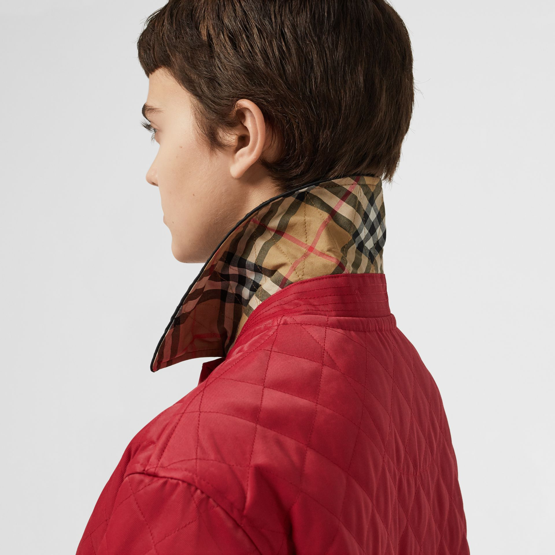 Diamond Quilted Barn Jacket in Red - Women | Burberry - gallery image 1