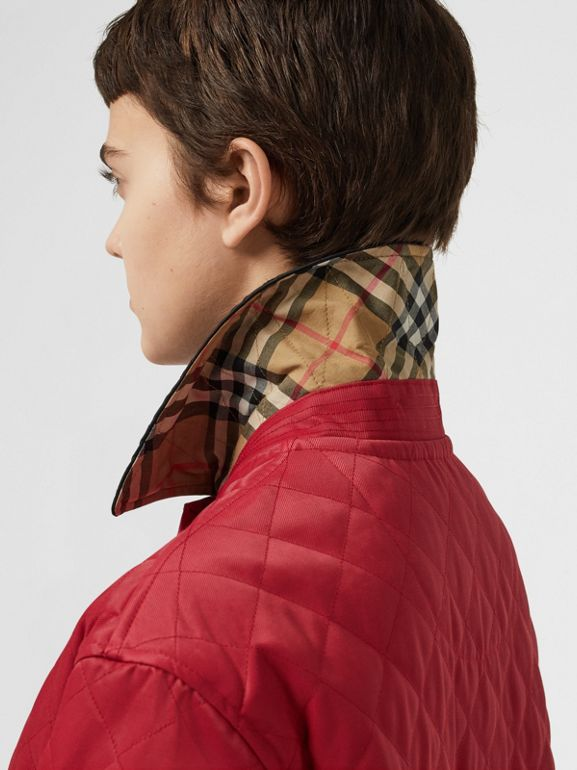 Diamond Quilted Barn Jacket in Red - Women | Burberry - cell image 1