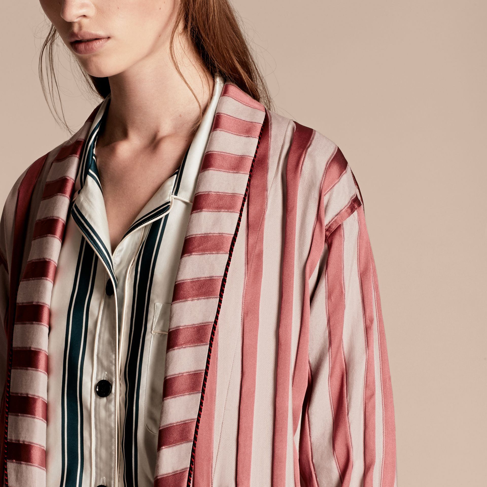Antique blush Panama Stripe Cotton Silk Blend Dressing Gown Coat - gallery image 5
