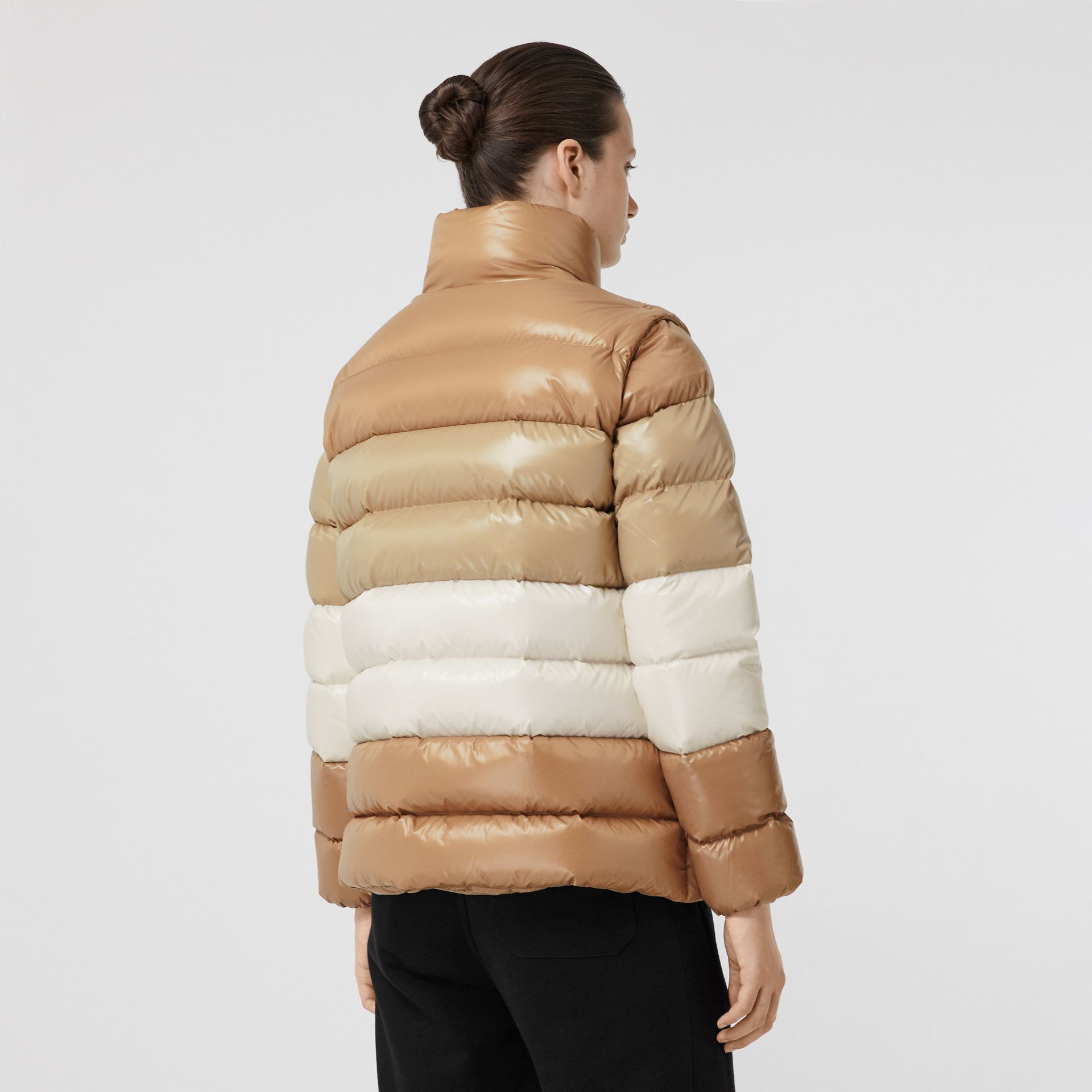Panelled Nylon Puffer Jacket with Detachable Sleeves in Soft Camel - Women | Burberry - gallery image 2