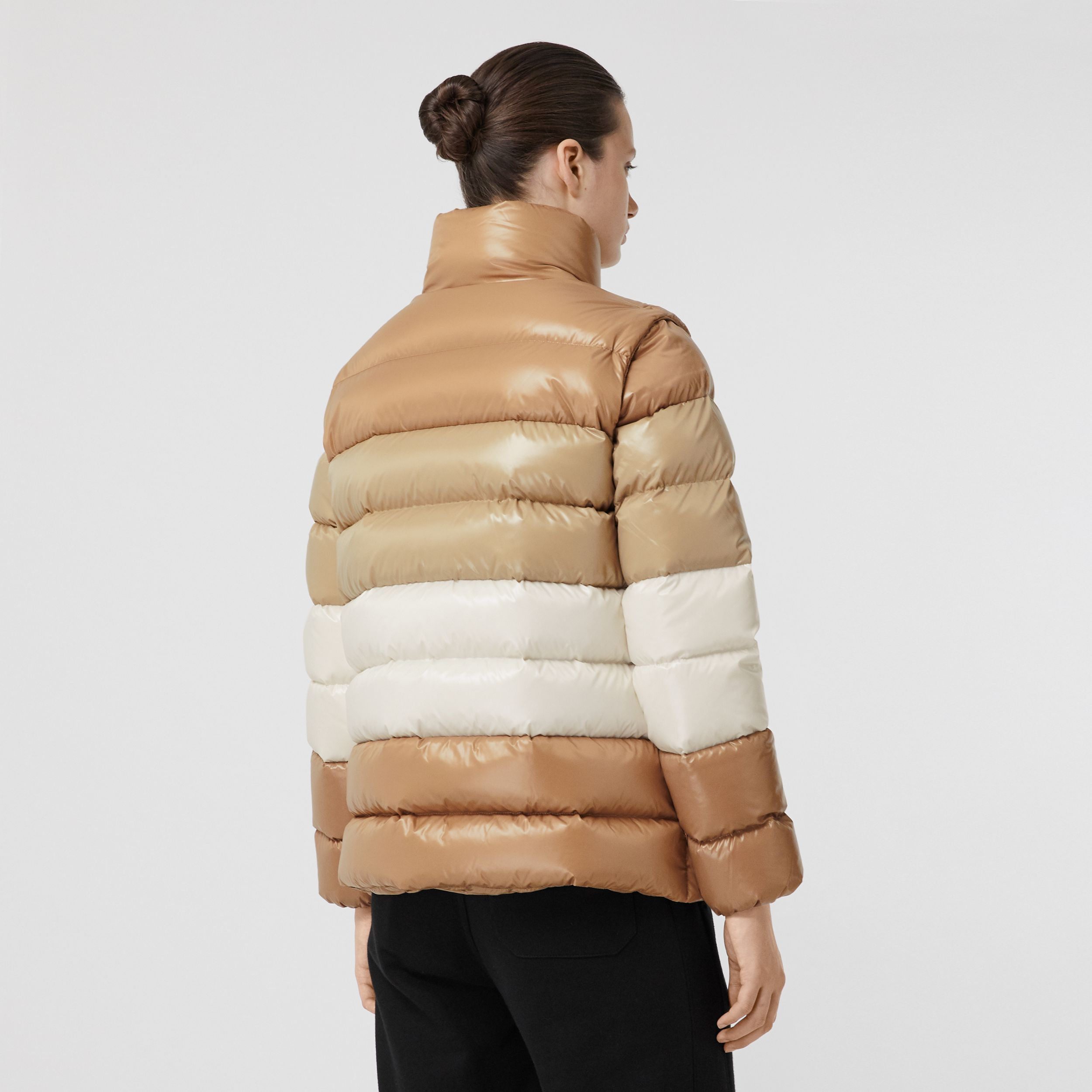 Panelled Nylon Puffer Jacket with Detachable Sleeves in Soft Camel - Women | Burberry - 3