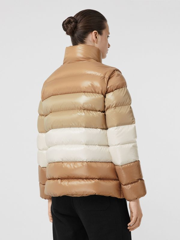 Panelled Nylon Puffer Jacket with Detachable Sleeves in Soft Camel - Women | Burberry - cell image 2