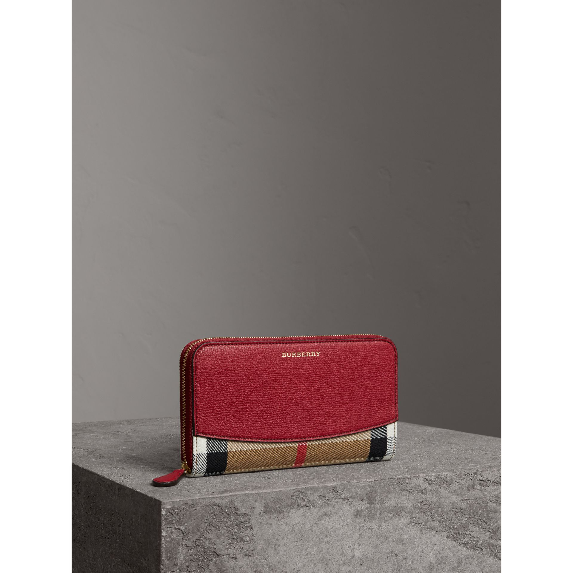 House Check and Leather Ziparound Wallet in Russet Red - Women | Burberry Australia - gallery image 0