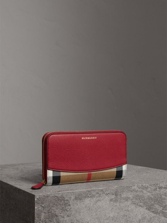 House Check and Leather Ziparound Wallet in Military Red