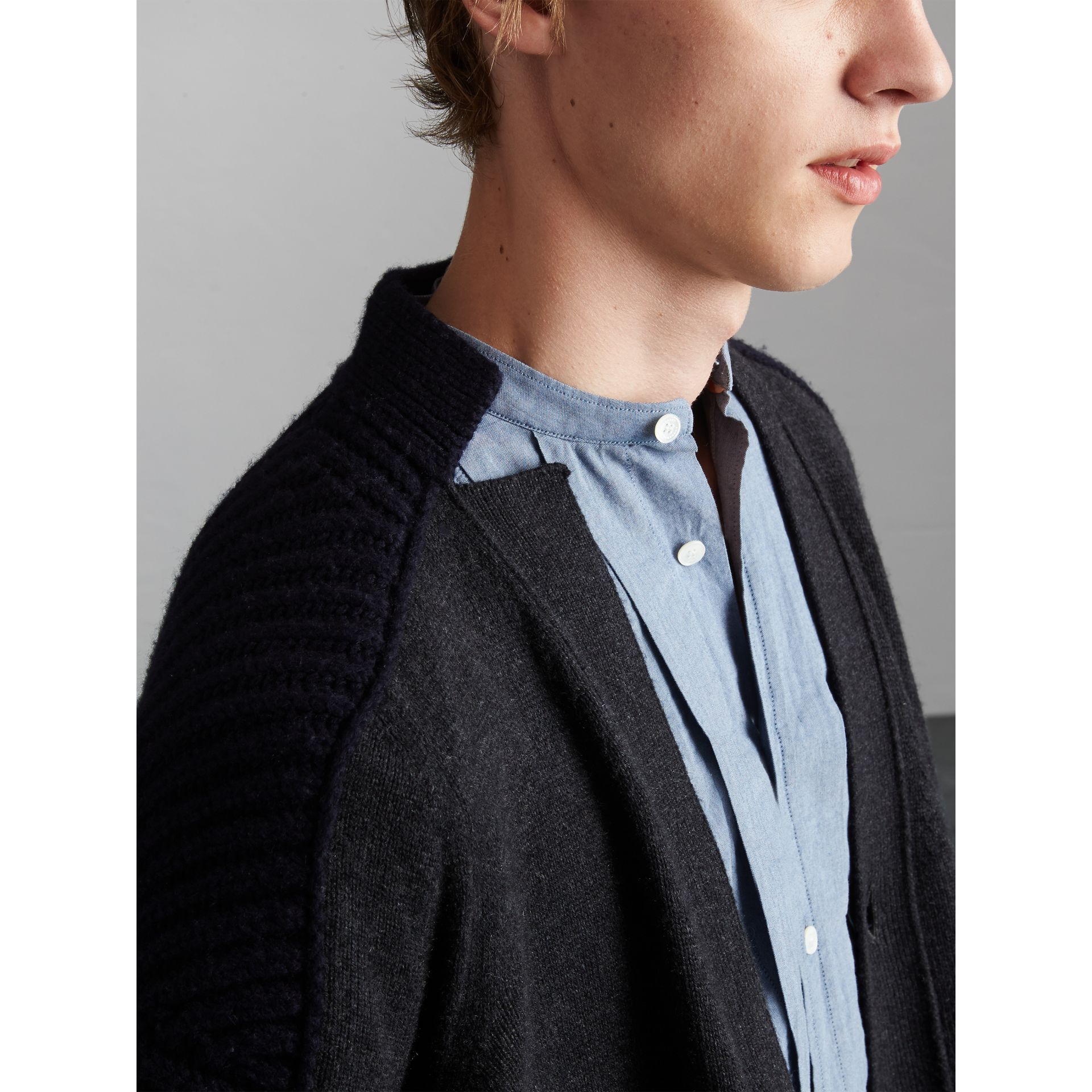 Two-tone Cashmere Cardigan with Ribbed Detail in Grey Navy - Men | Burberry - gallery image 1