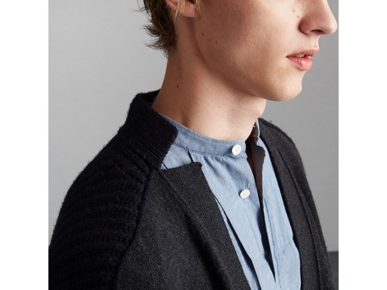 Two-tone Cashmere Cardigan with Ribbed Detail in Grey Navy - Men | Burberry - cell image 1