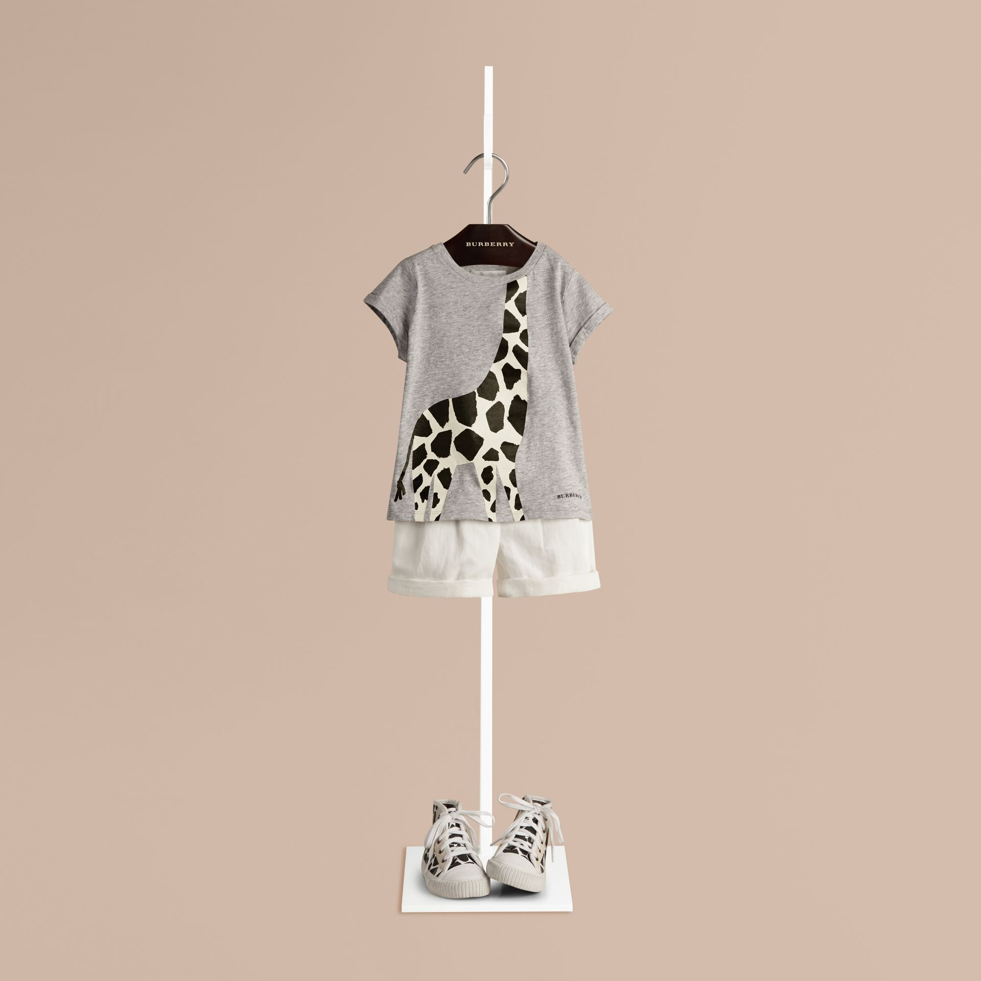 Grey melange Giraffe Print Cotton T-shirt - gallery image 1